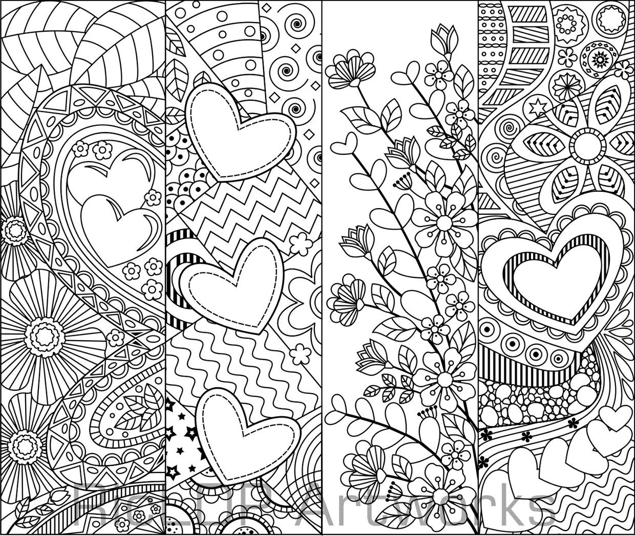 coloring bookmark template set of 8 coloring bookmarks with hearts art doodles for template bookmark coloring