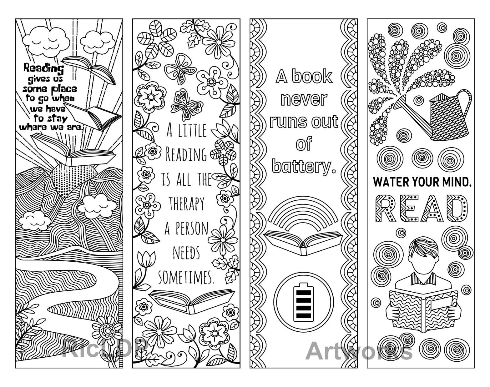 coloring bookmark template set of 8 coloring bookmarks with quotes about books and coloring template bookmark