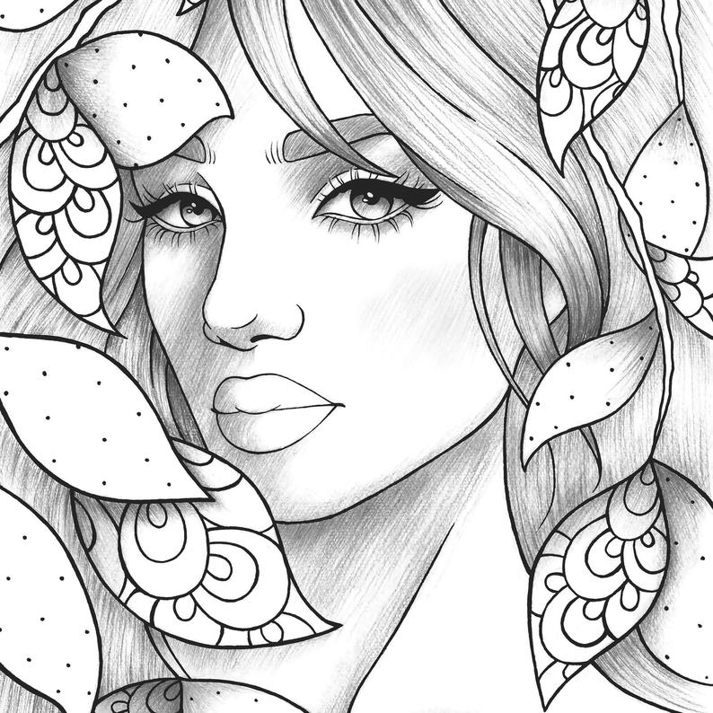 coloring books for girls adult coloring page girl portrait and leaves colouring girls for books coloring