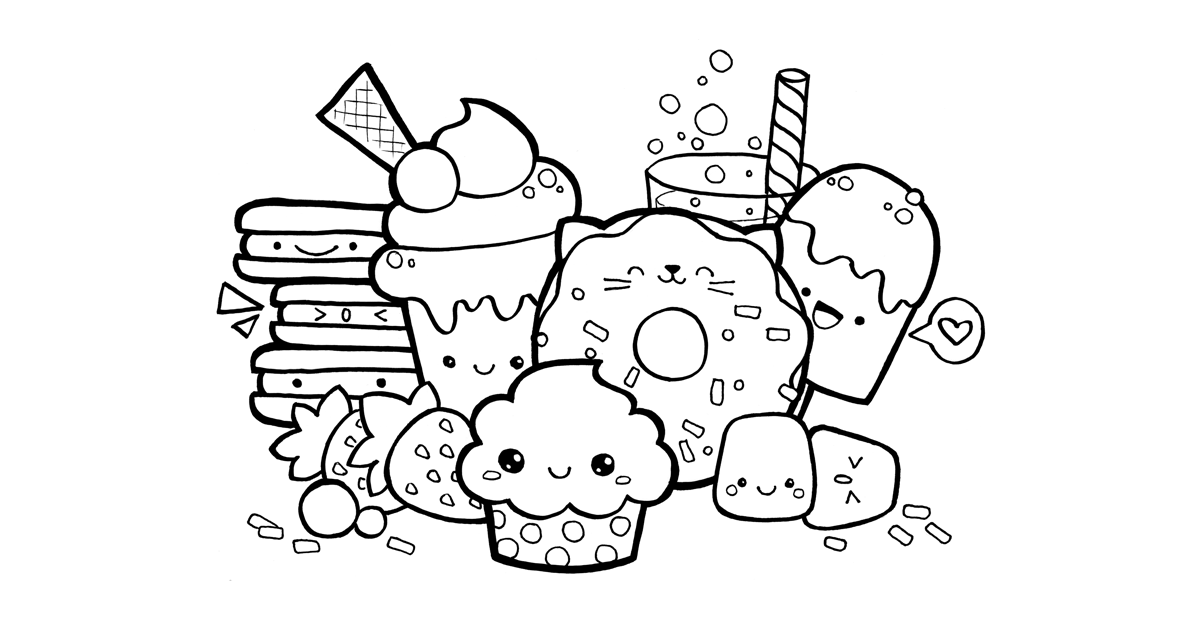 coloring cute food pictures cute food coloring pages at getcoloringscom free pictures food cute coloring