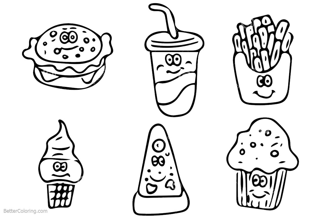 coloring cute food pictures cute food coloring pages line drawing free printable cute pictures coloring food