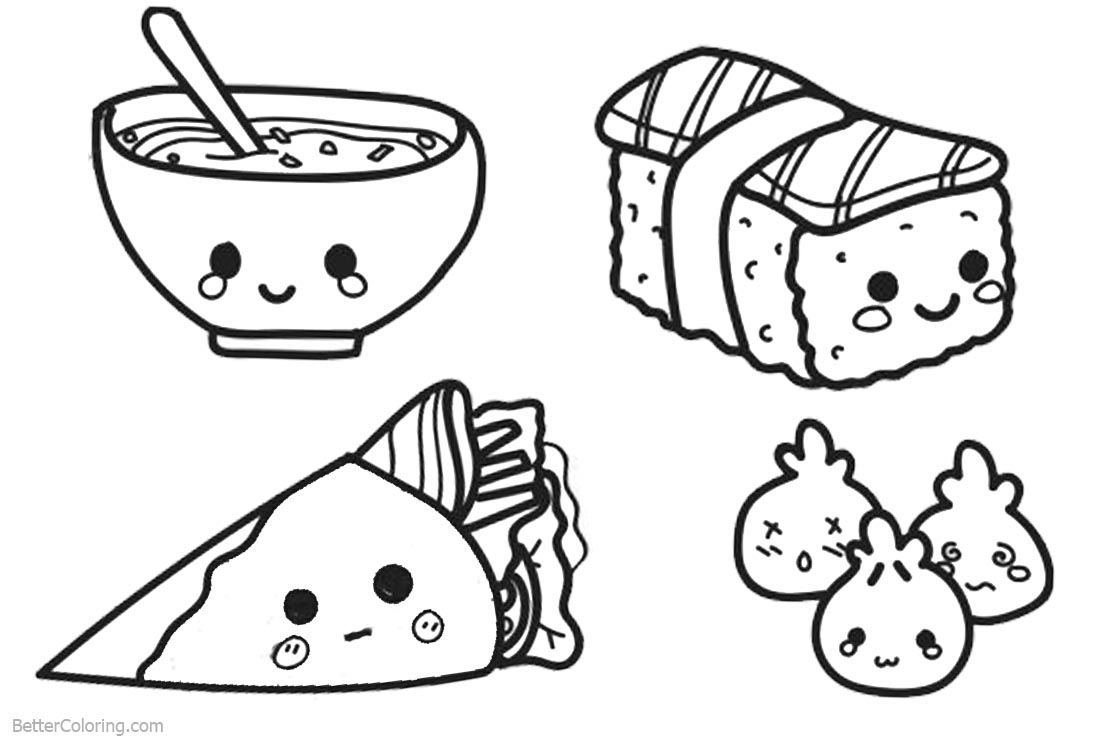 coloring cute food pictures cute food coloring pages sushi free printable coloring pages cute coloring pictures food