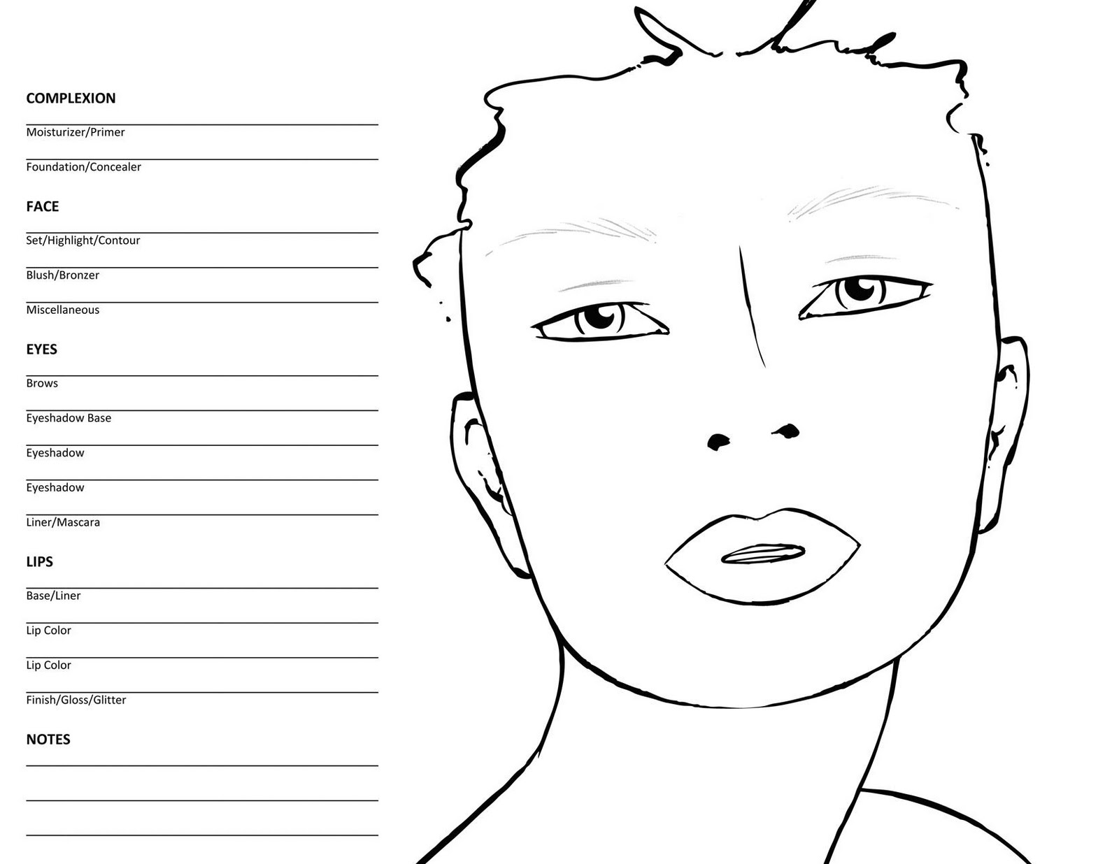 coloring face template blank face coloring page getcoloringpagescom coloring face template 1 1