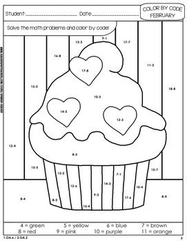 coloring grade 3 color by code math february 3rd grade editable grade coloring 3