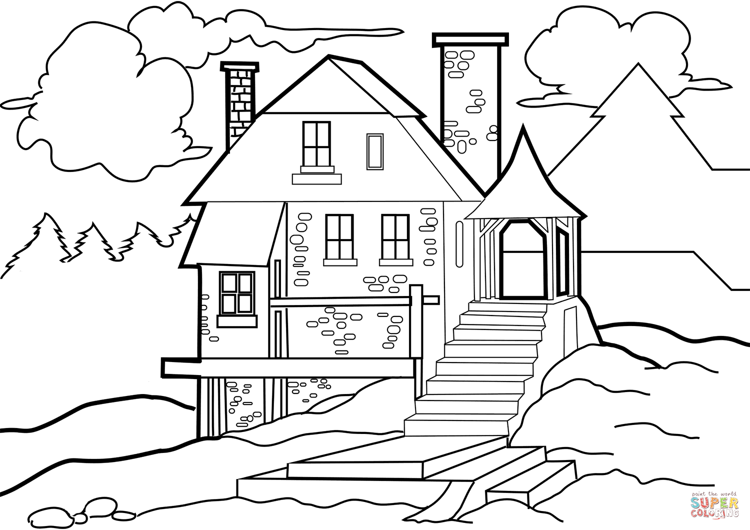 coloring house pictures house in the wilderness coloring page free printable house coloring pictures