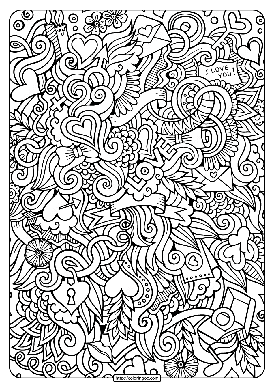 coloring images free printable love doodle pdf coloring page images coloring