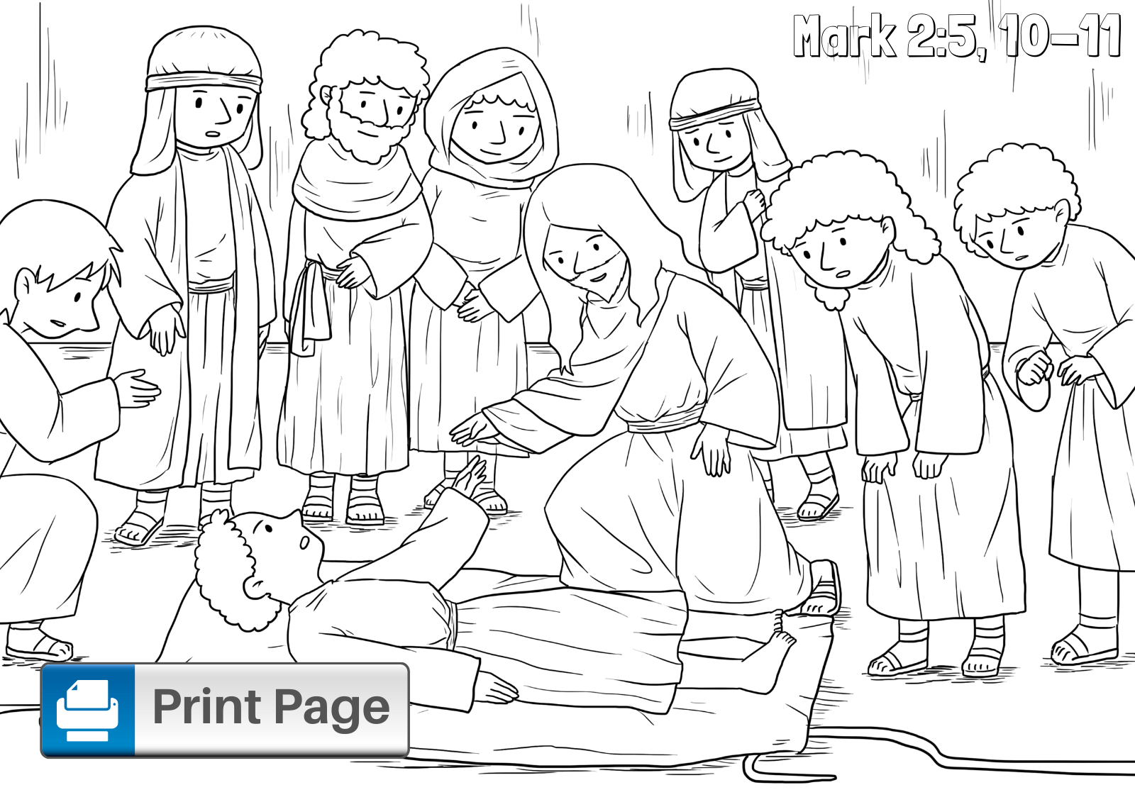 coloring jesus heals the paralytic bible coloring page jesus and the paralyzed man in 2020 heals the coloring jesus paralytic