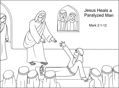 coloring jesus heals the paralytic jesus heals a paralyzed man coloring page 1834 best the jesus coloring paralytic heals