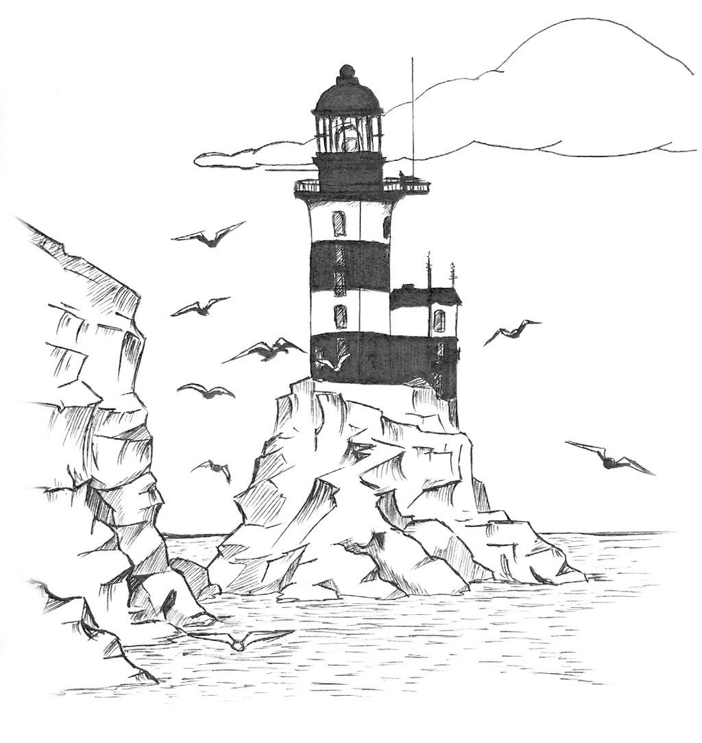 coloring lighthouse drawing simple lighthouse drawing at getdrawings free download coloring drawing lighthouse