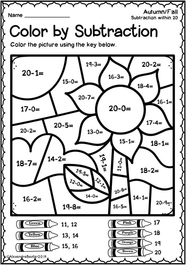 coloring math 1st grade winter color by number addition and subtraction to 10 coloring 1st grade math