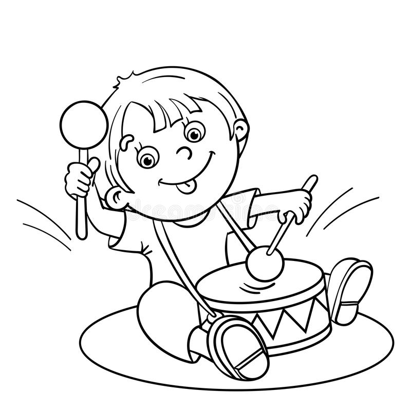 coloring outline of a boy coloring page outline of a cartoon boy playing the drum of outline coloring a boy