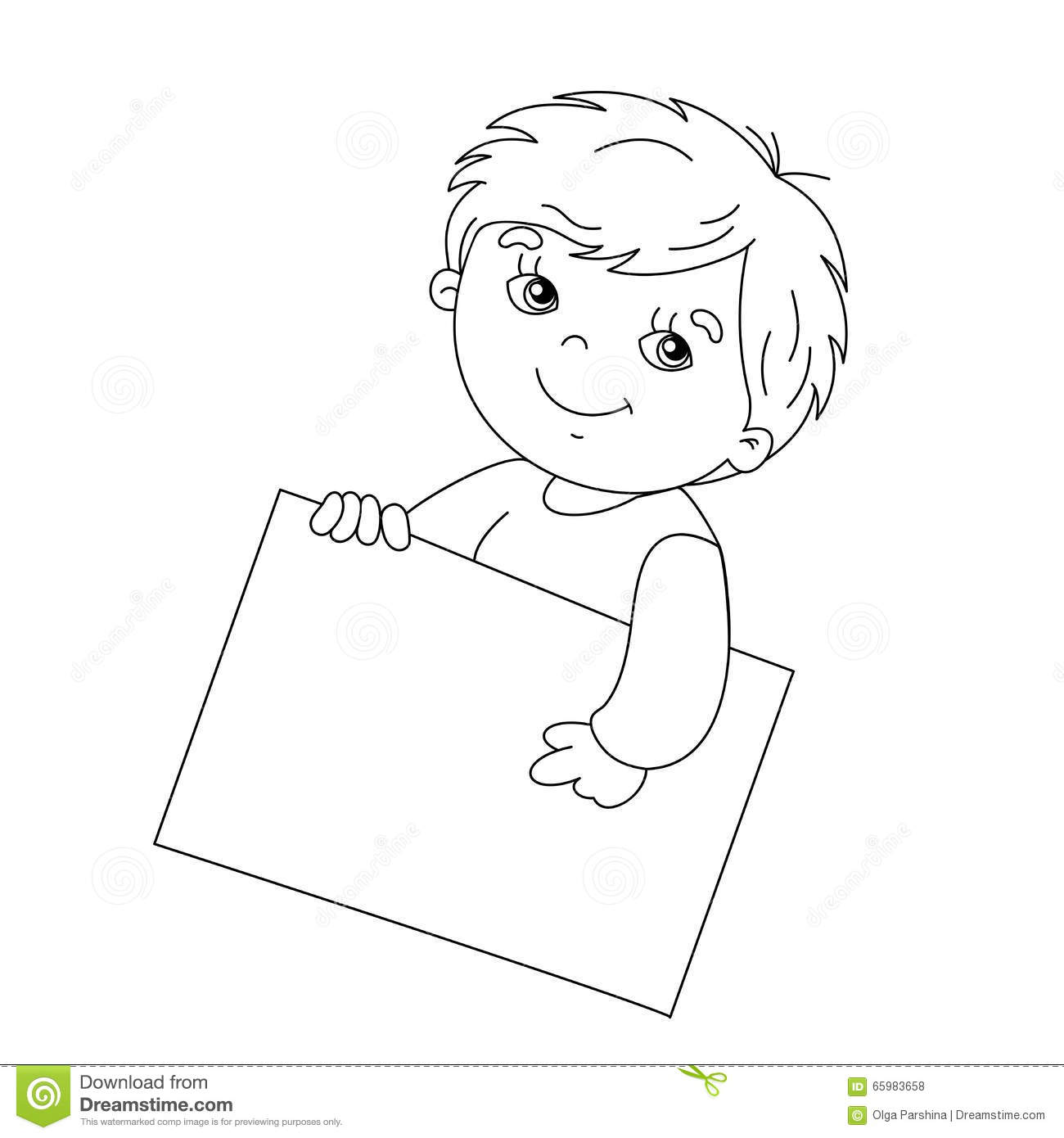 coloring outline of a boy coloring page outline of cute boy holding a sign stock coloring boy outline of a