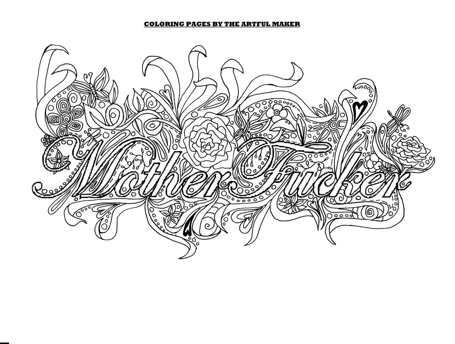 coloring page creator motherfucker adult coloring page by the artful maker etsy creator coloring page