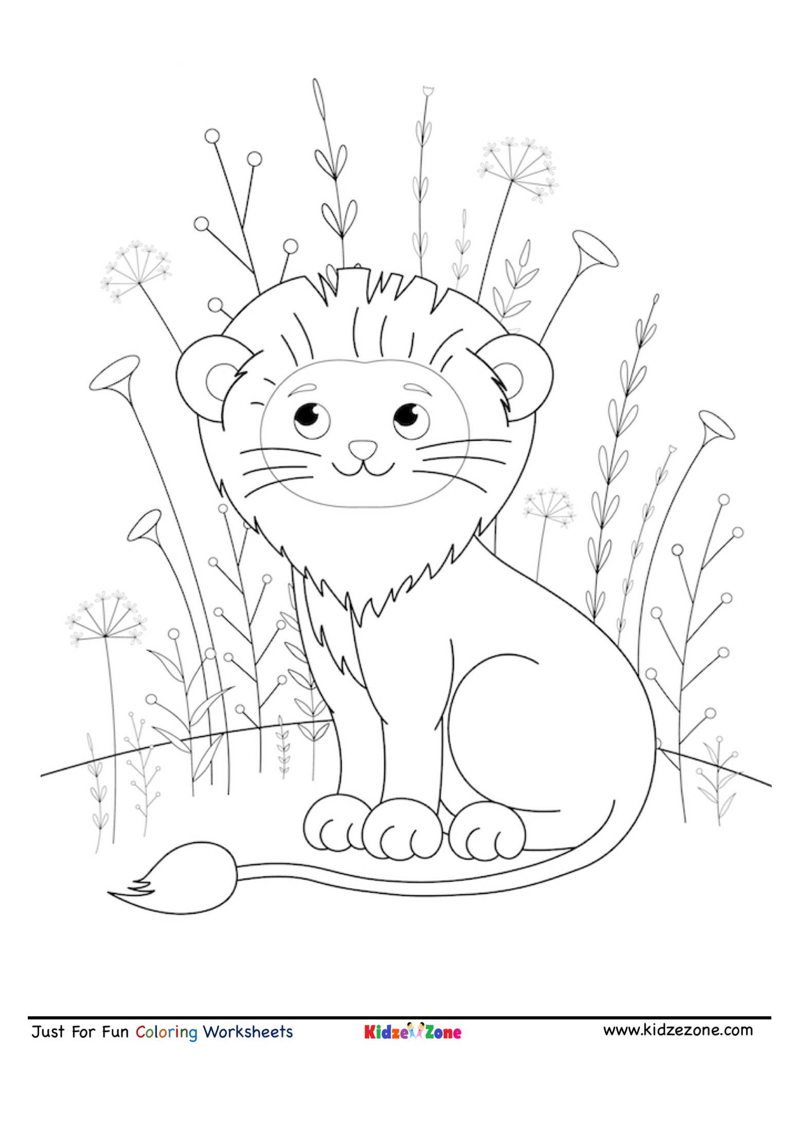 coloring page of a lion cute smiling lion coloring page kidzezone coloring of page a lion