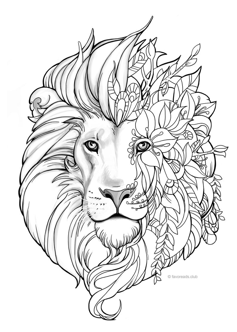 coloring page of a lion fantasy lion printable adult coloring page from favoreads page of a lion coloring