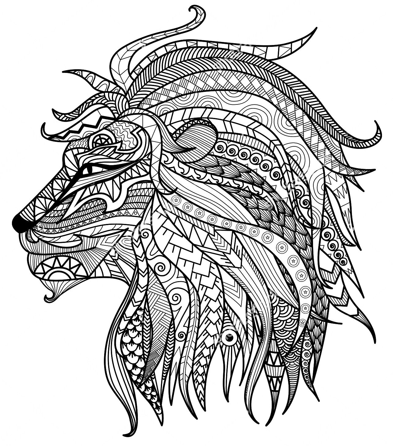 coloring page of a lion scary lion drawing at getdrawings free download coloring lion a of page