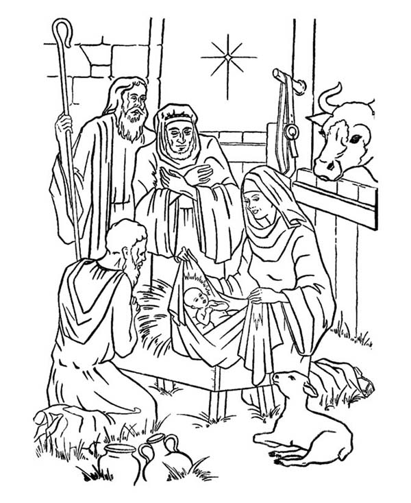 coloring pages baby jesus in manger baby jesus in manger drawing at getdrawings free download pages in coloring baby jesus manger
