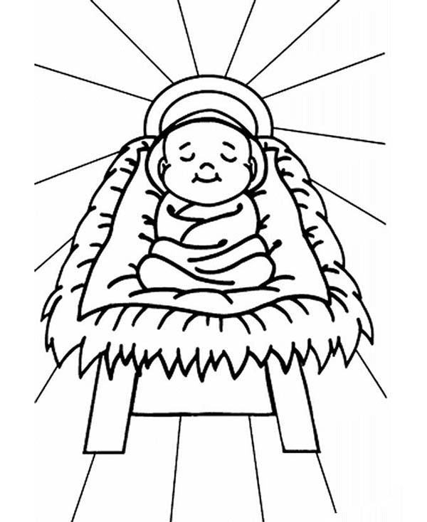 coloring pages baby jesus in manger baby jesus sleep in a manger coloring page kids play color in baby manger jesus pages coloring