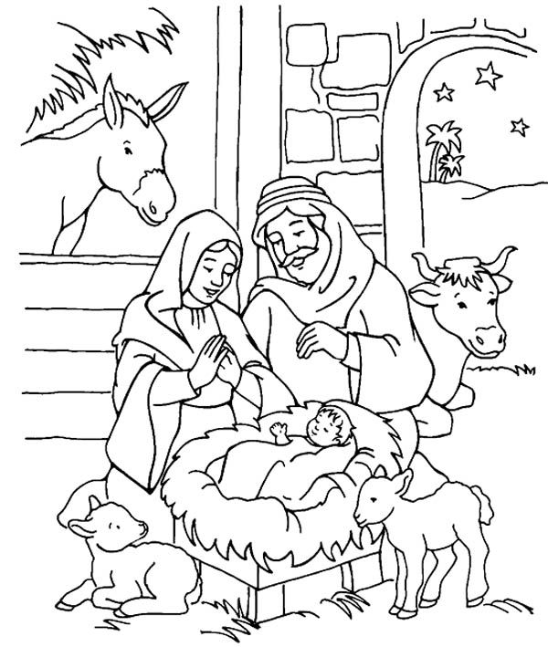 coloring pages baby jesus in manger drawn child nativity pencil and in color drawn child manger pages baby jesus coloring in