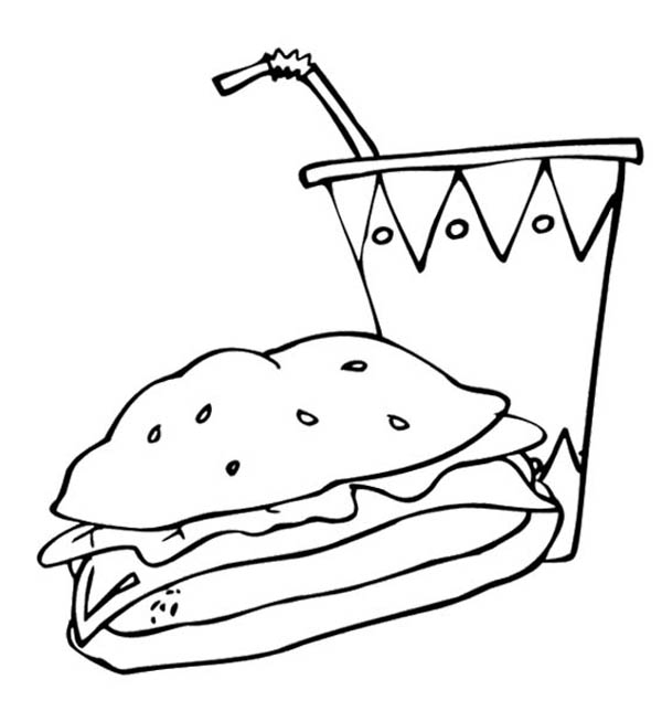 coloring pages food and drink fast food the big burger and drink coloring page big food and drink coloring pages