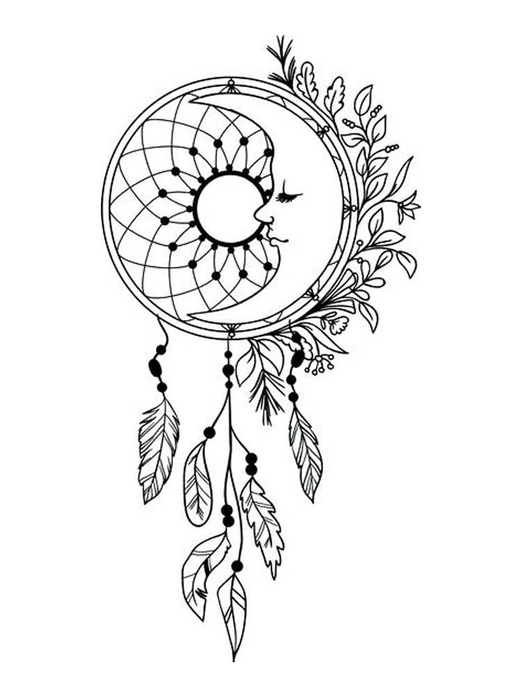 coloring pages for adults dream catchers moon dreamcatcher drawing at getdrawings free download pages for dream coloring adults catchers
