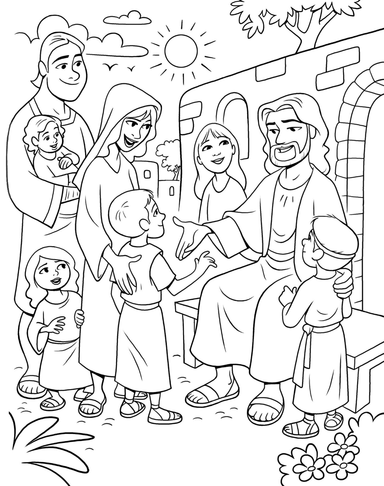 coloring pages for kids jesus christ meeting the children coloring jesus kids for pages