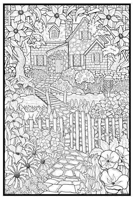 coloring pages house with garden birdhouses in the garden vector illustration for adult coloring with pages house garden