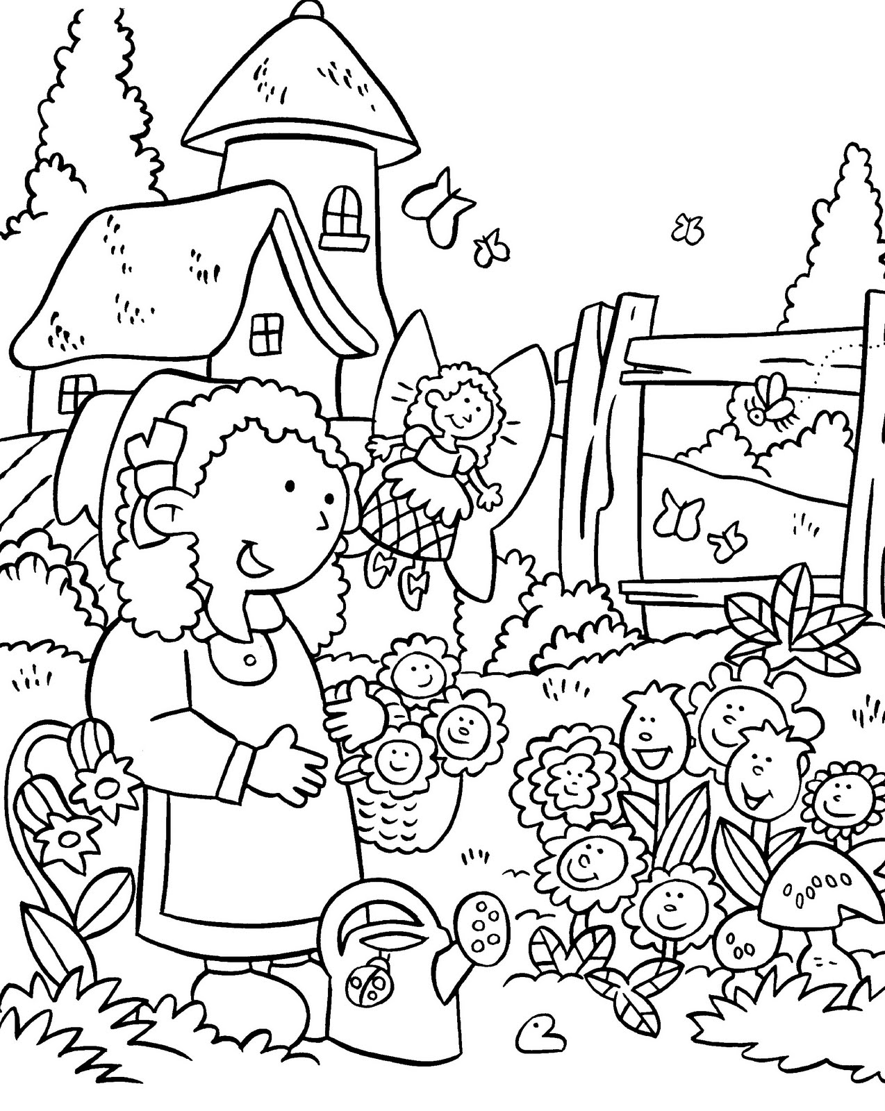 coloring pages house with garden garden pages house with garden coloring