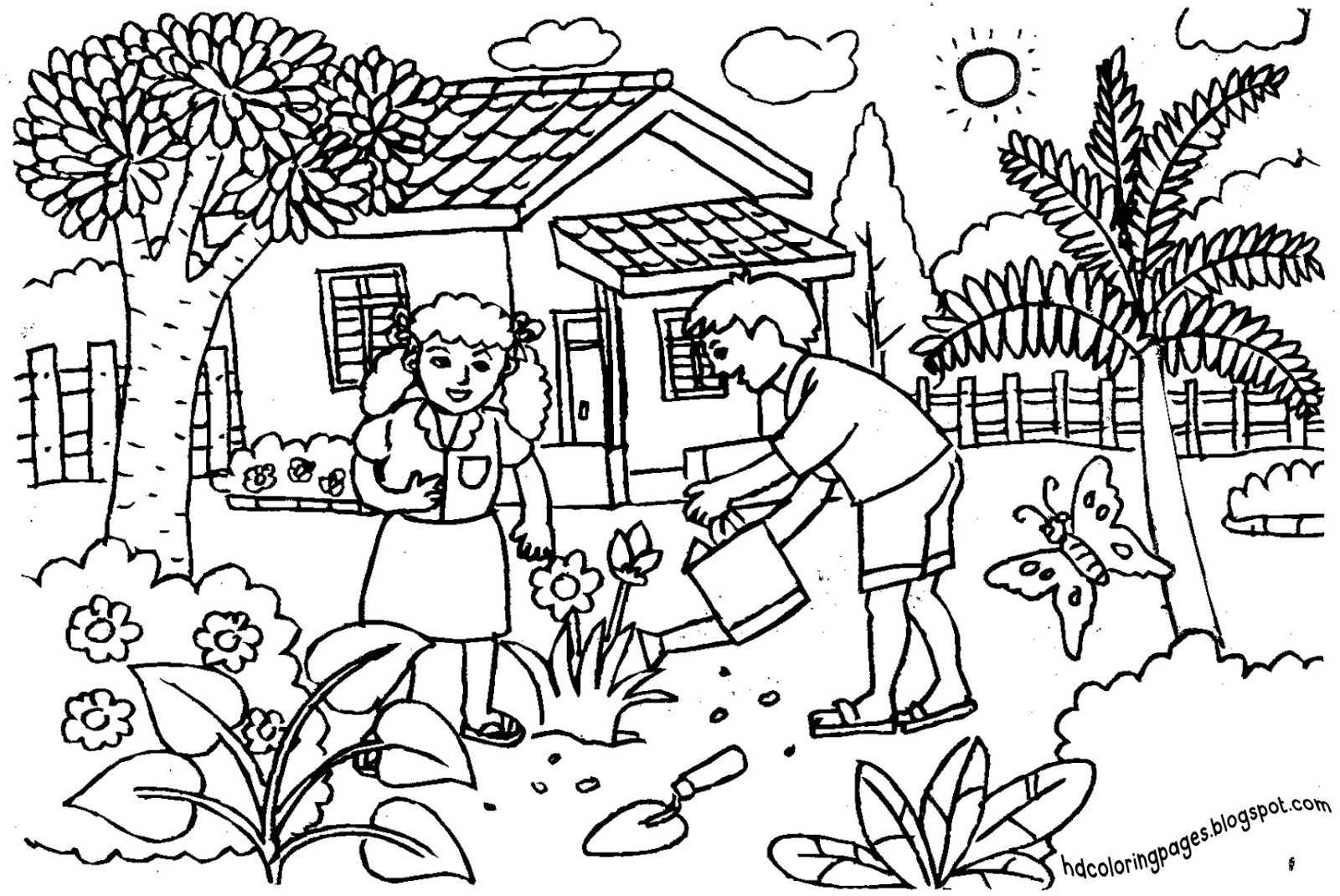 coloring pages house with garden happy garden cottage 1 adult coloring book page printable house pages with coloring garden
