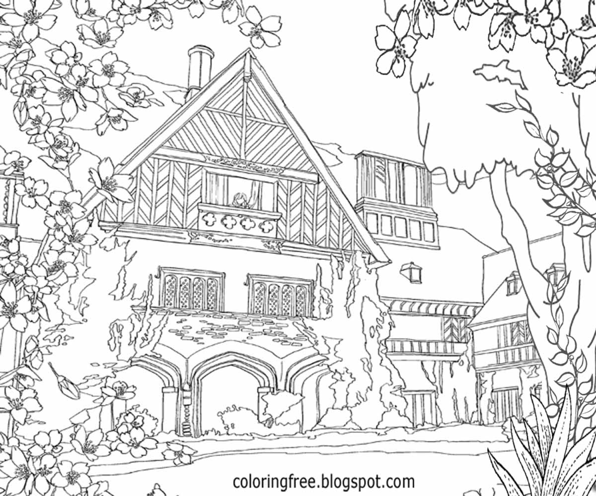 coloring pages house with garden home garden house with coloring garden pages