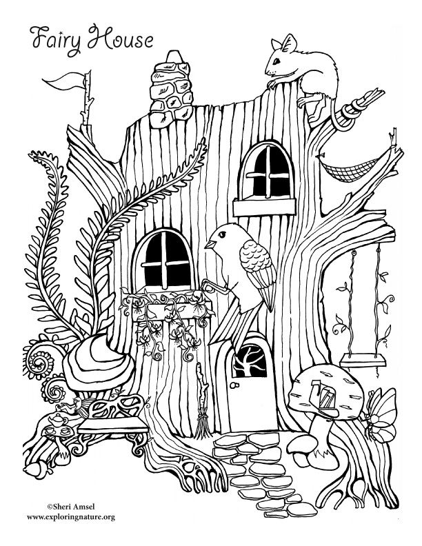 coloring pages house with garden image result for fairy tree house coloring pages pages house with coloring garden