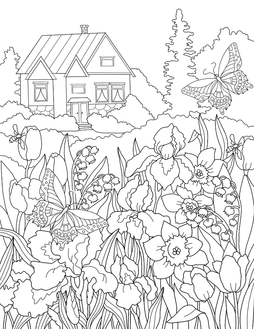 coloring pages house with garden tree stump house with images garden coloring pages house pages coloring with garden