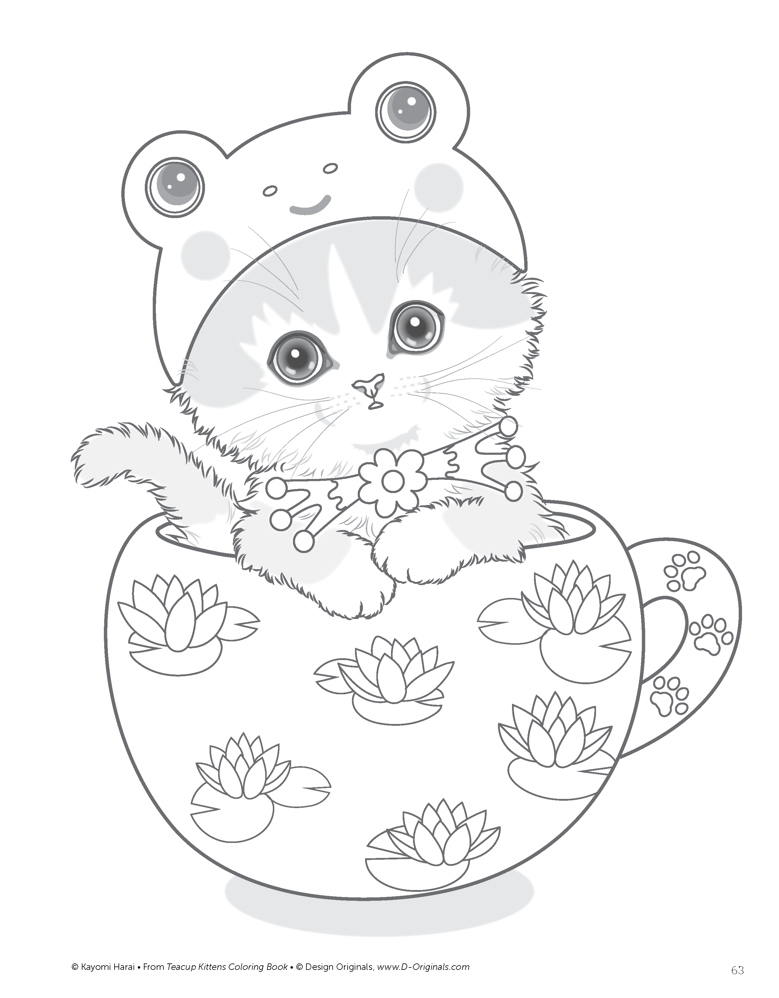 coloring pages kitten amazoncom teacup kittens coloring book design originals coloring kitten pages