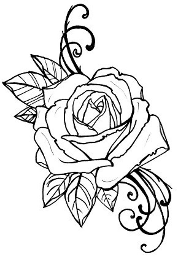 coloring pages rose items similar to coloring book page tattoo rose digital pages rose coloring