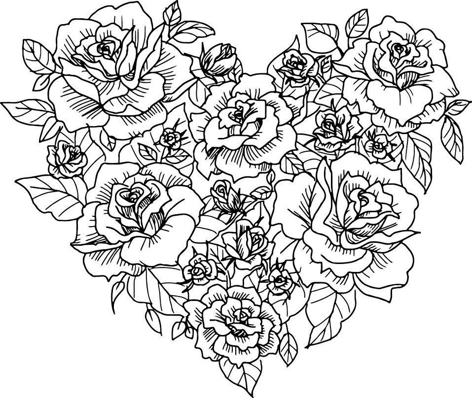coloring pages rose printable roses heart coloring page for both aldults and kids coloring rose pages