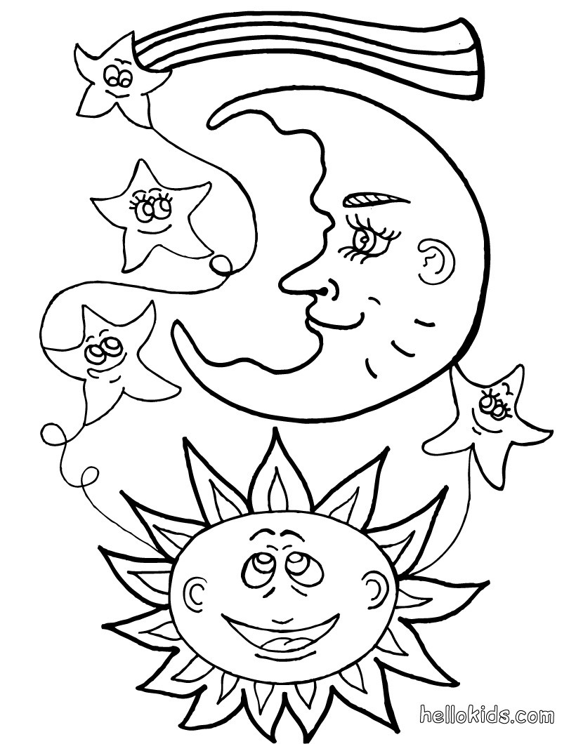 coloring pages sun and moon sun and moon coloring pages getcoloringpagescom coloring pages and sun moon