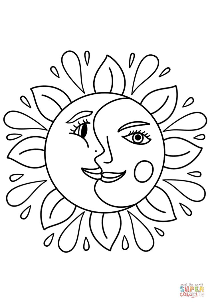 coloring pages sun and moon trippy sun and moon coloring page free printable pages coloring moon sun and