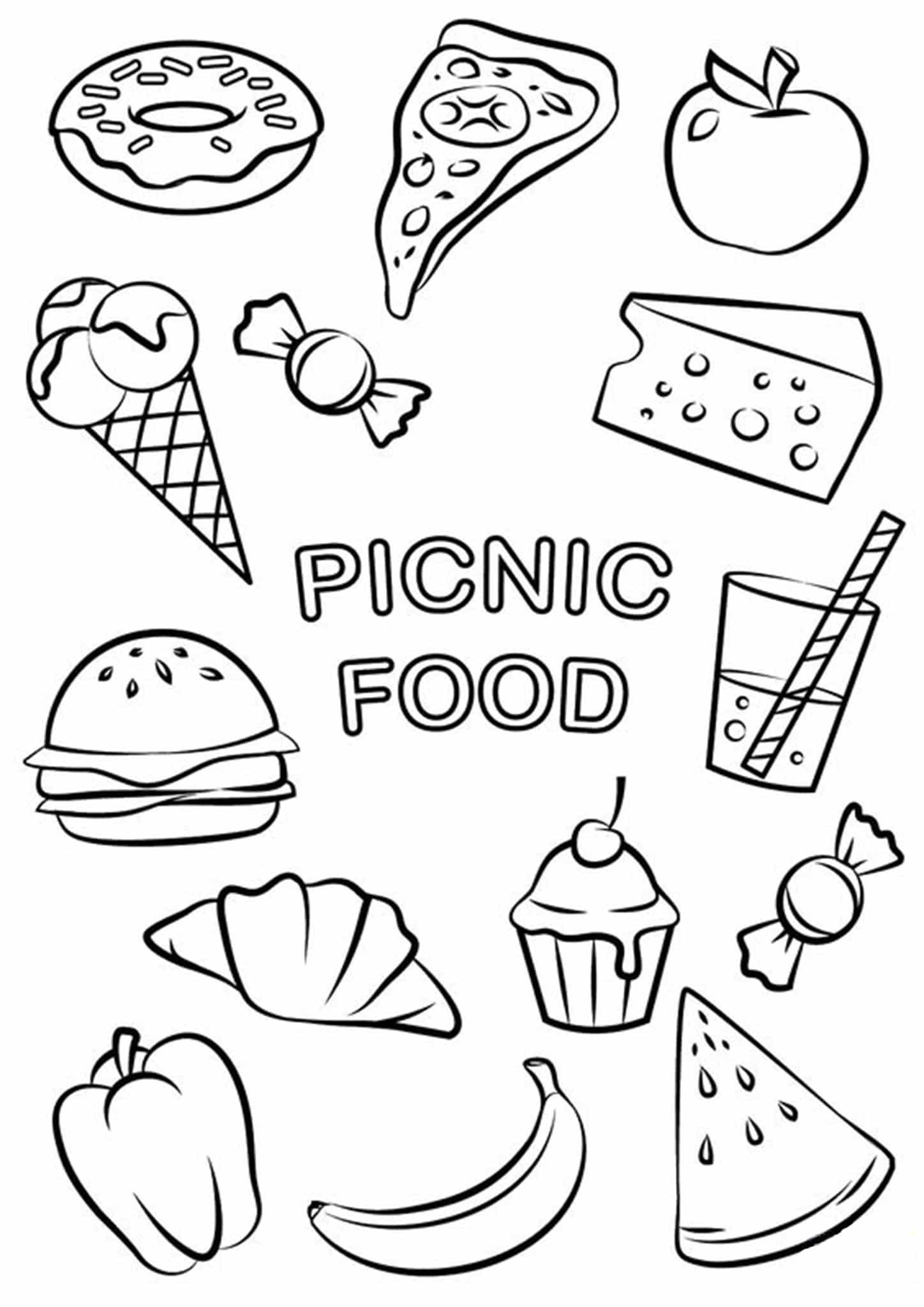 coloring picture food food coloring pages getcoloringpagescom picture coloring food