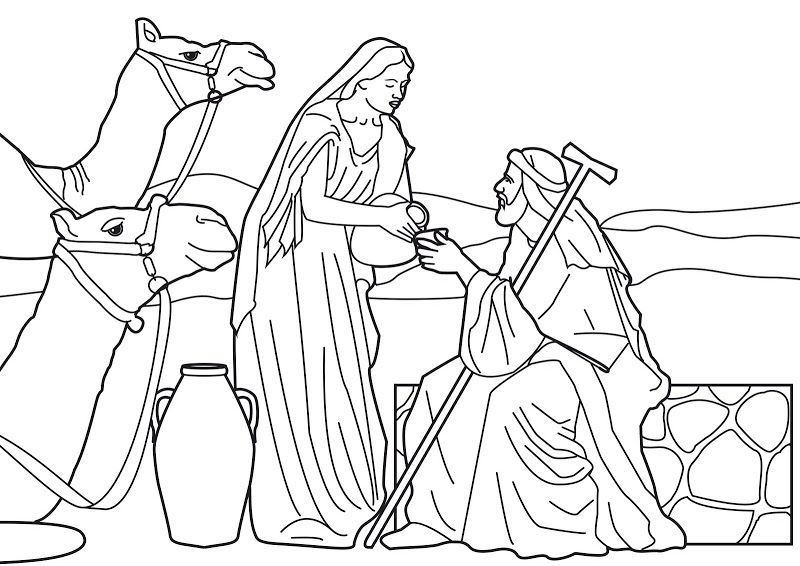 coloring picture of isaac and rebekah isaac and rebekah coloring page at getcoloringscom free coloring rebekah isaac and of picture