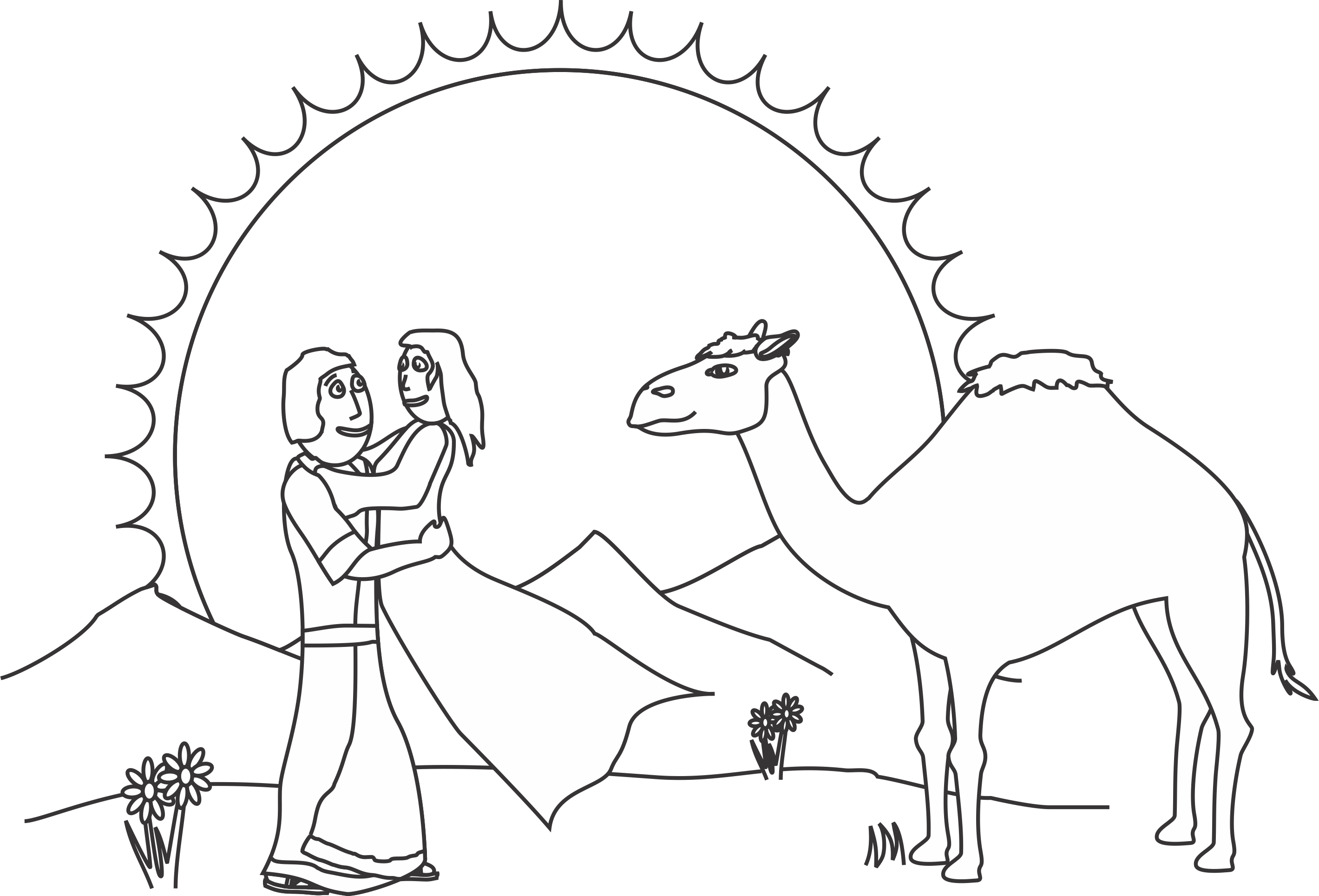 coloring picture of isaac and rebekah rebecca at the well with abraham39s servant bible coloring and rebekah picture of coloring isaac
