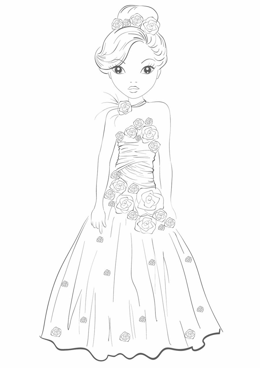 coloring princess dress black and white princess gown for coloring liana39s paper princess dress coloring
