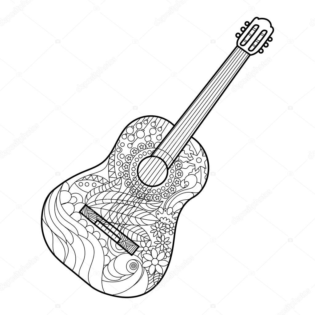 coloring printable guitar amazing acoustic guitar printables wood guitars free coloring guitar printable