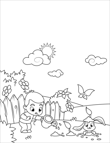 coloring rabbit burrow outline boy watering flowers and cute rabbit digging through them rabbit coloring outline burrow