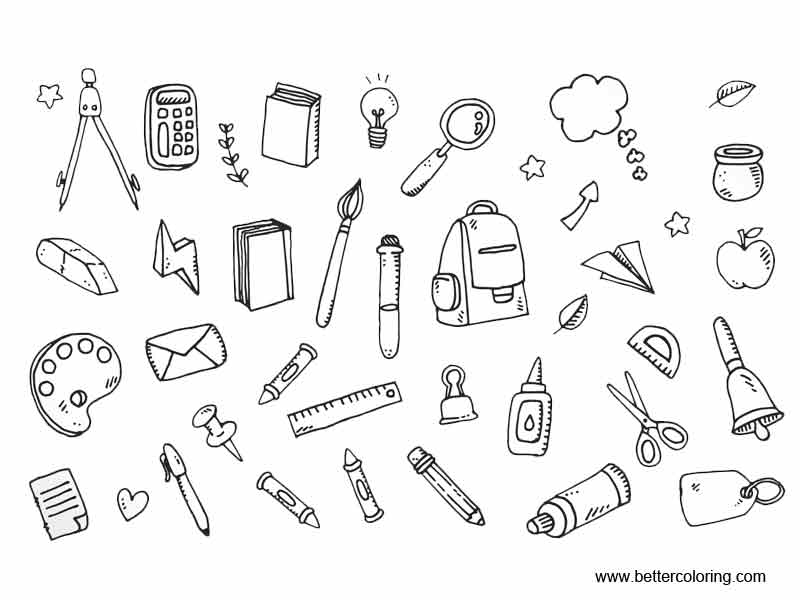 coloring school supplies school supplies coloring pages icons free printable coloring supplies school