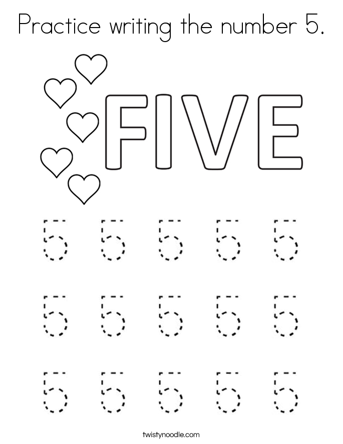 coloring worksheet number 5 number 5 count and trace coloring page twisty noodle 5 number worksheet coloring