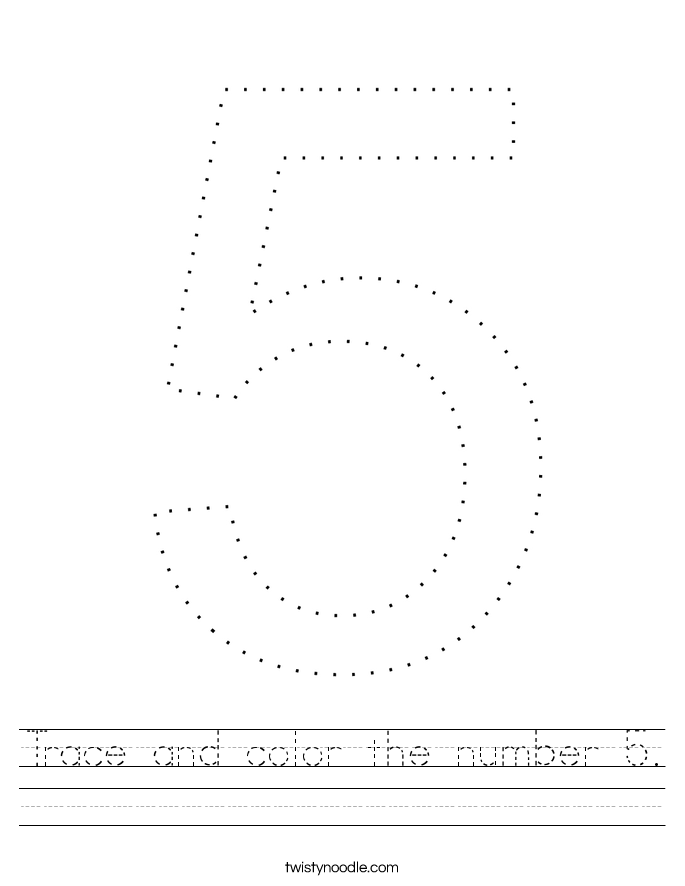 coloring worksheet number 5 trace and color the number 5 worksheet twisty noodle coloring 5 number worksheet