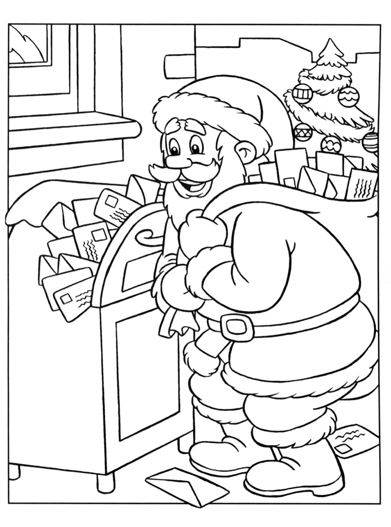 colour in father christmas santa in sleigh coloring pages download and print for free in father colour christmas