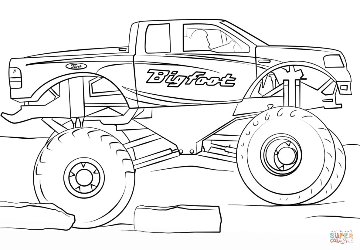 colouring in trucks bigfoot monster truck coloring page free printable trucks in colouring