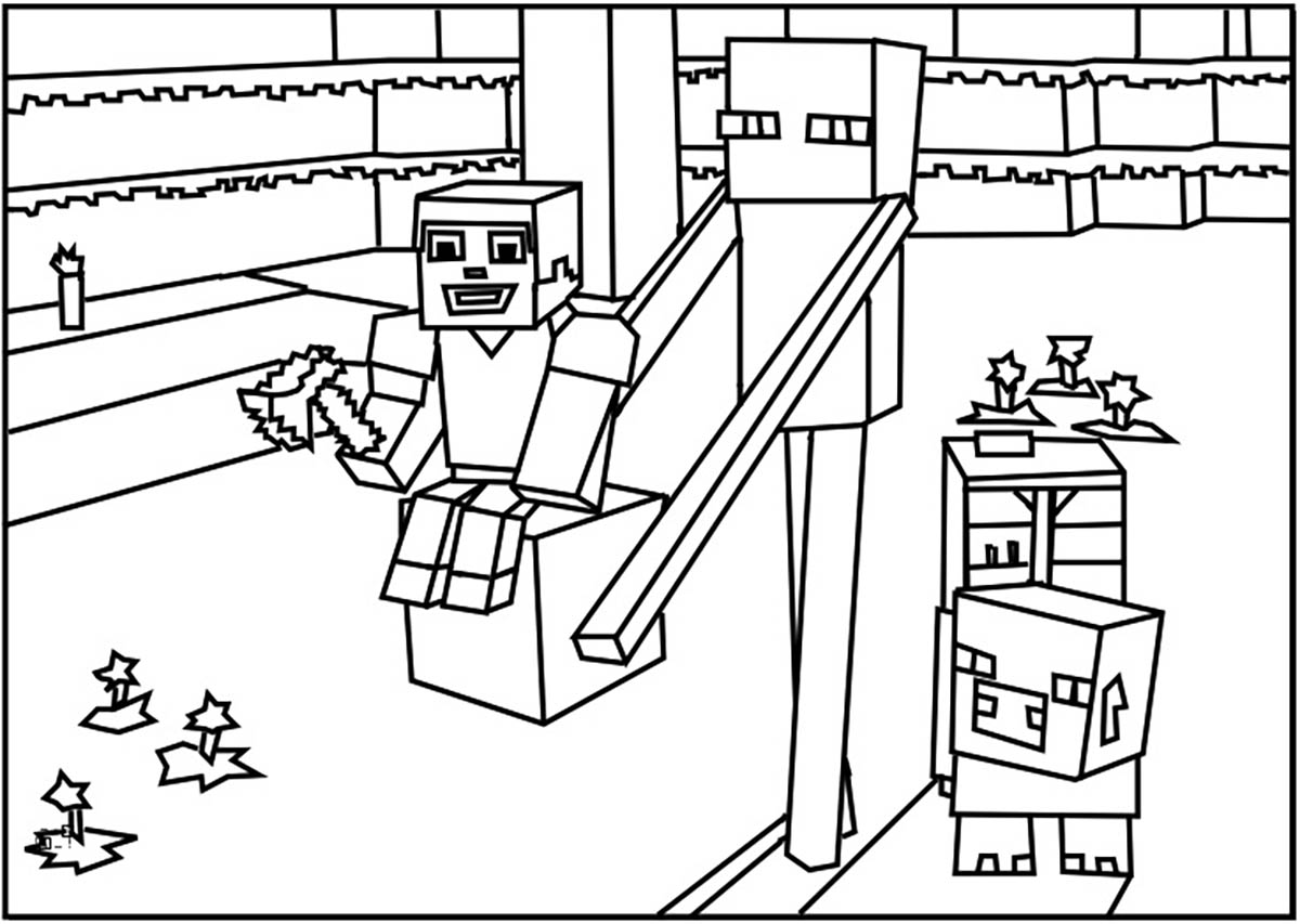 colouring pages of minecraft minecraft mobs a minecraft coloring page for kids minecraft of colouring pages