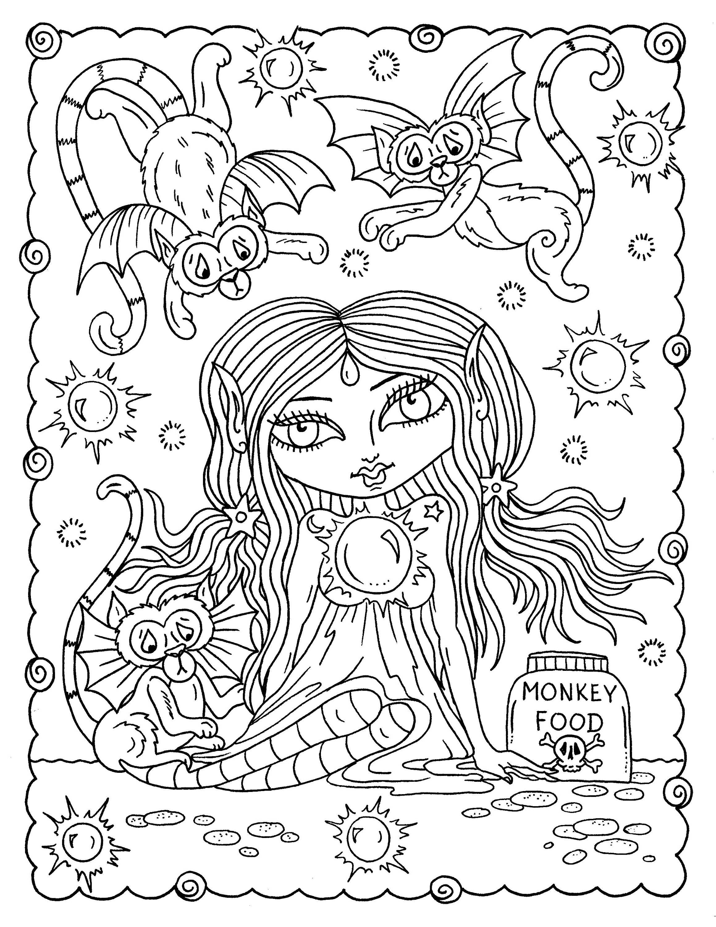 creepy fairy coloring pages misfit girls 5 pages halloween misfits creepy cute fairy pages coloring creepy